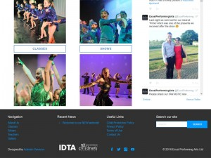 Excel Performing Arts WordPress Design